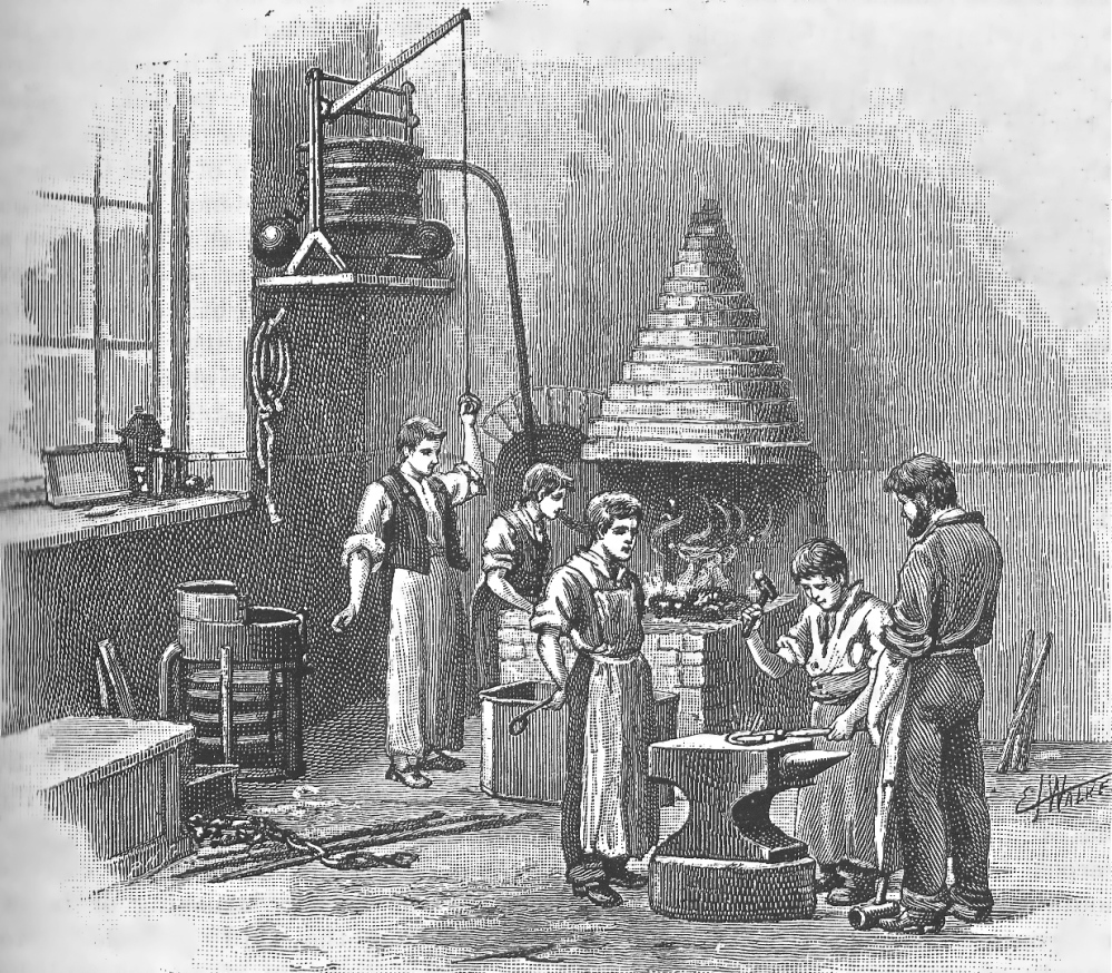 Boys working in the Blacksmiths