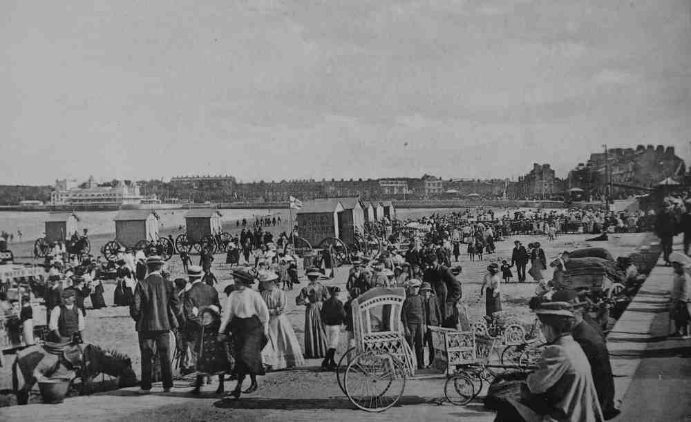 Sm Donkeys on Weymouth beach in the Edwardian era