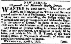 Weymouth town bridge 1821.