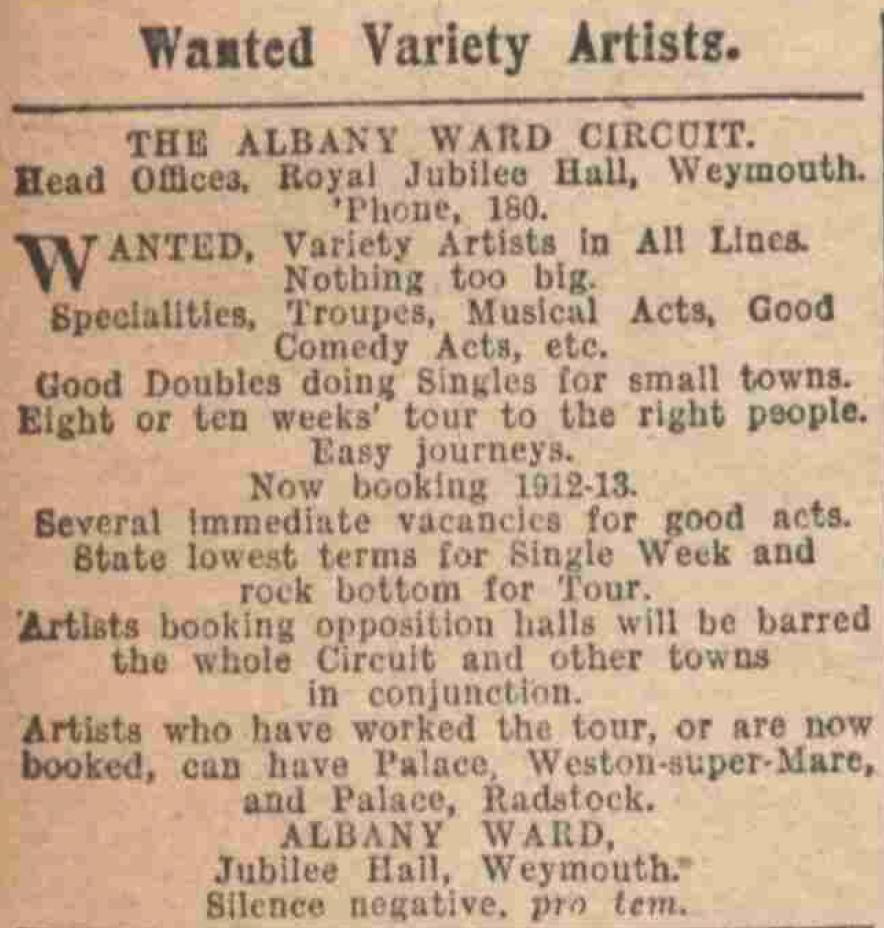 Albany Ward theatre comonay 1916