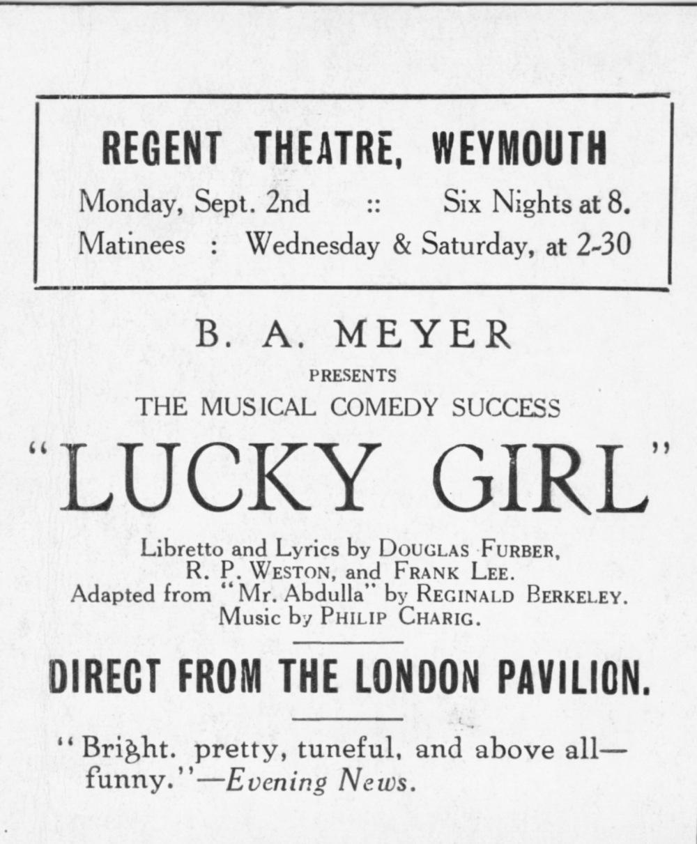 Lucky Girl II 1930's Jubilee Hall Weymouth llustrated magazine 1892