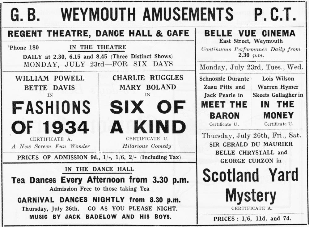 PCT's amusements Weymouth 1930's Jubilee Hall Weymouth 2