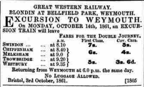 Train excursion to Weymouth for Blondin
