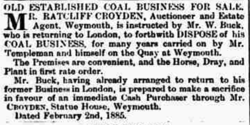 Mr Buck Coal seller Weymouth selling business 1885