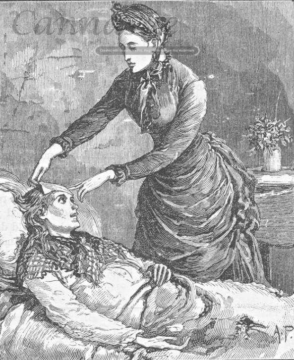 woman in sick bed